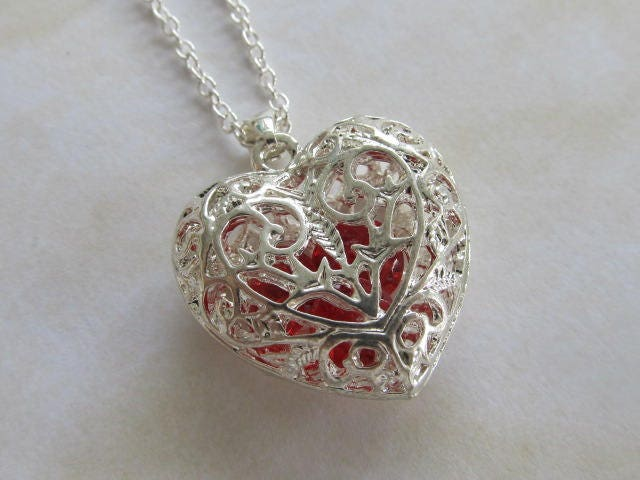 sterling silver filigree heart necklace pendant silver heart