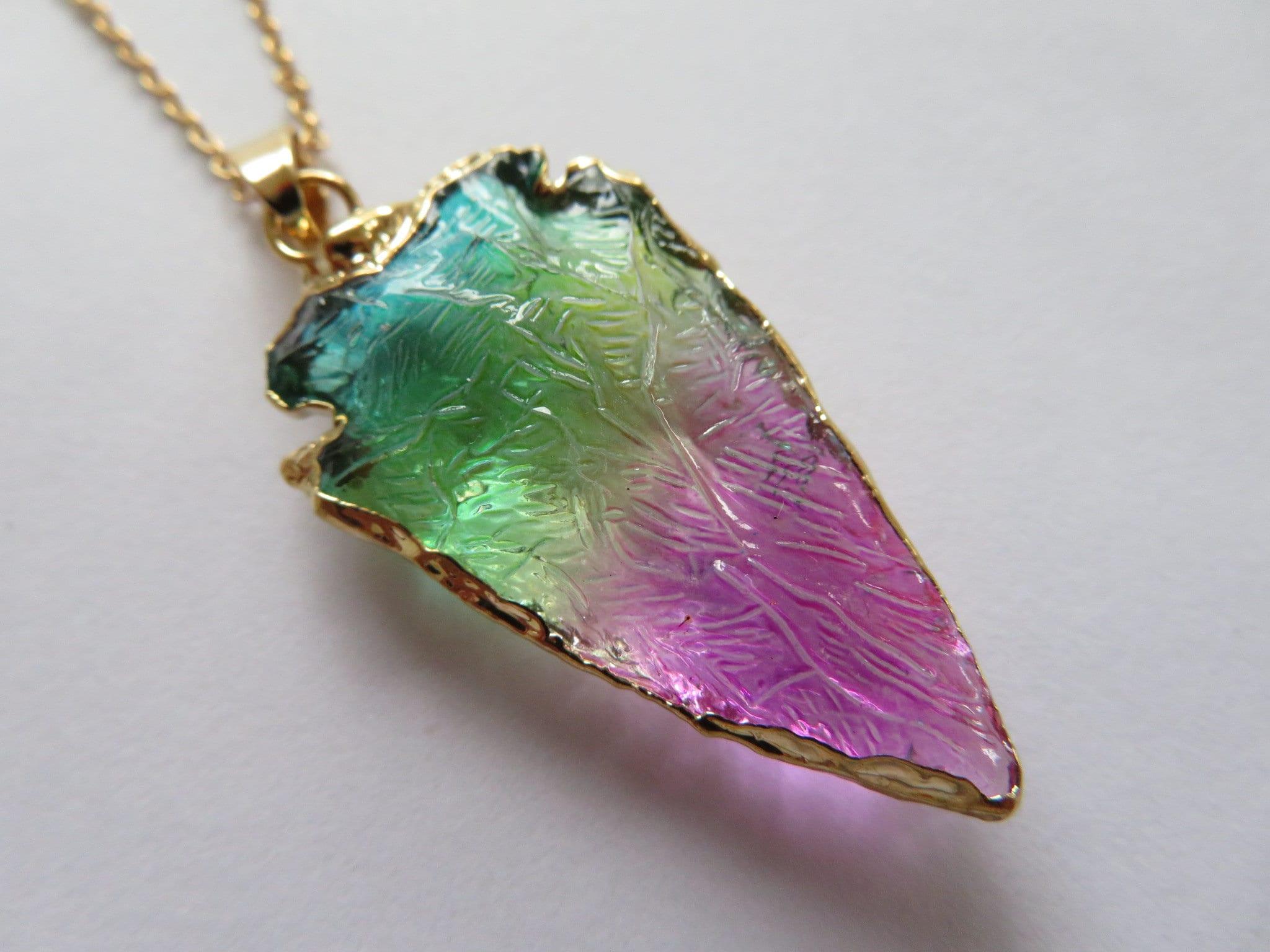 Chakra Arrow Crystal Quartz Pendant Gold Filled Raw Stone Necklace Gemstone