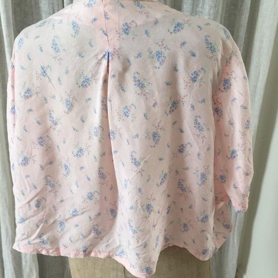 30s silk , pink ,floral bed jacket - image 2