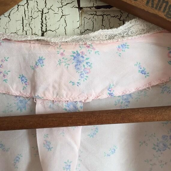 30s silk , pink ,floral bed jacket - image 7