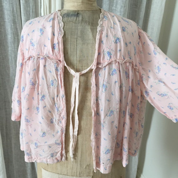 30s silk , pink ,floral bed jacket