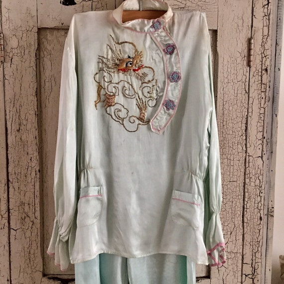 Shabby 1930s pale mint 2 piece pajama nightwear se
