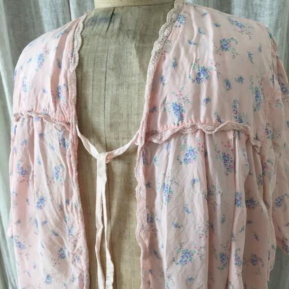 30s silk , pink ,floral bed jacket - image 9