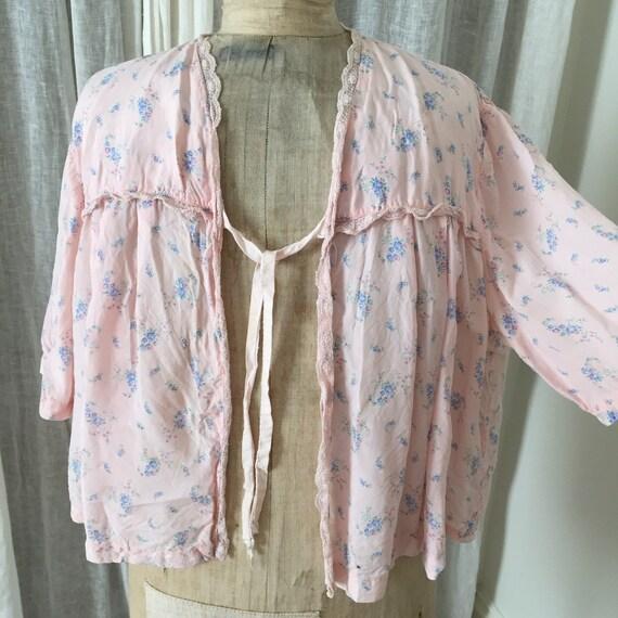 30s silk , pink ,floral bed jacket - image 4