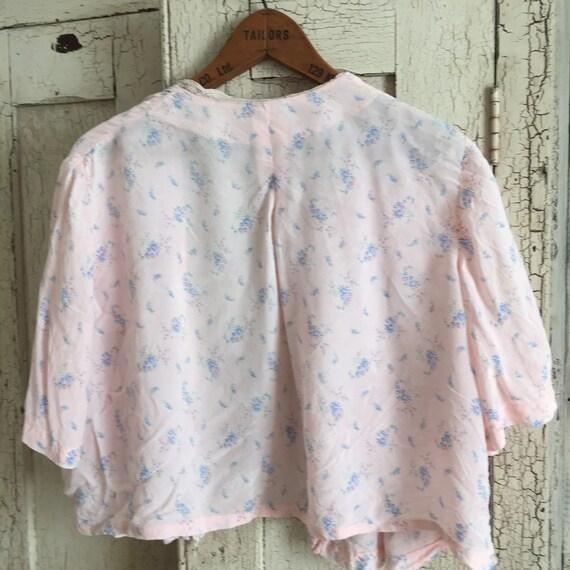 30s silk , pink ,floral bed jacket - image 3