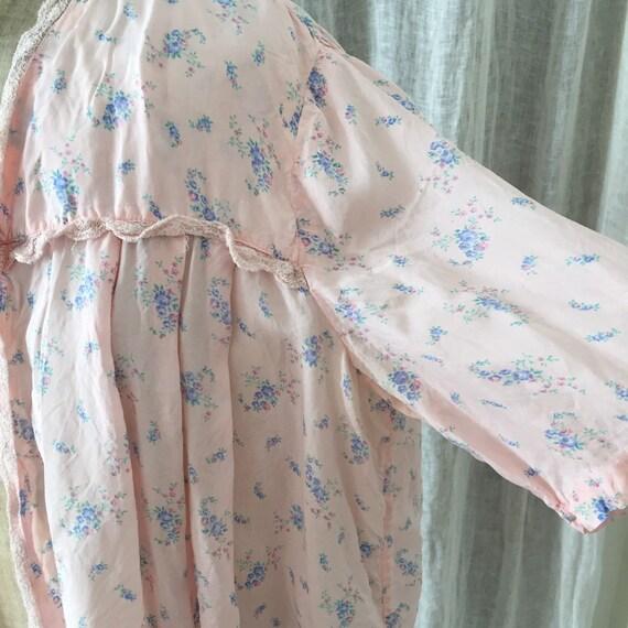 30s silk , pink ,floral bed jacket - image 6