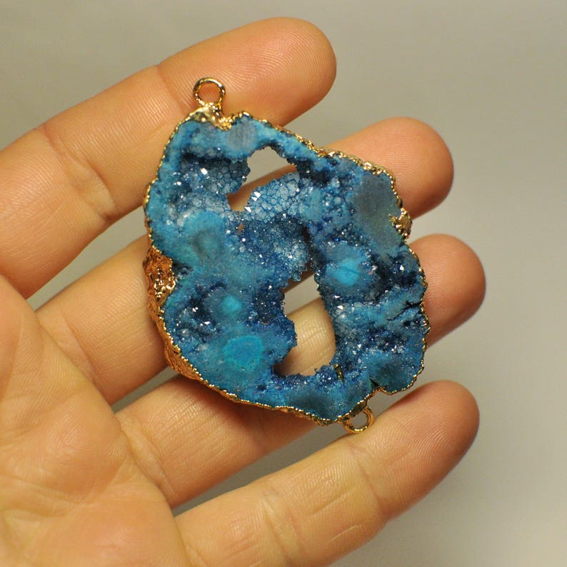 Natural Freeform Titanium Agate Druzy Geode Slice Bar Connector Gold Plated Blue Color 53x43x7 mm 102.10 Cts.