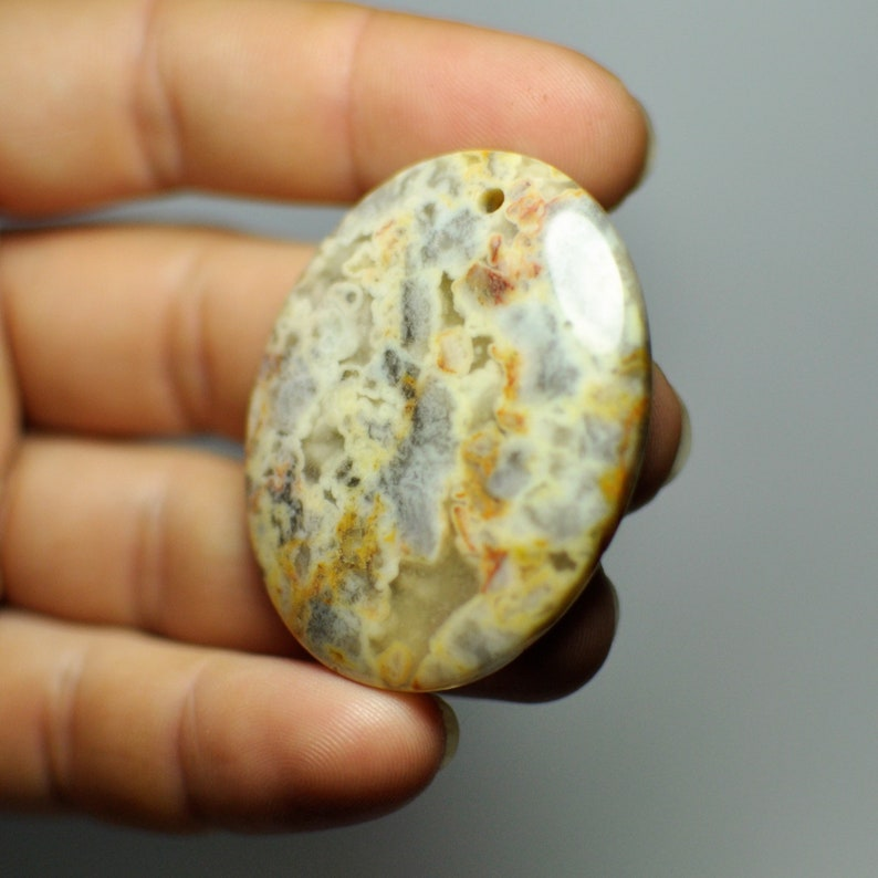 47x37x6 mm Natural Designer Mexico Crazy Lace Agate Oval Pendant Bead Yellow Gray color 93.45 Cts.