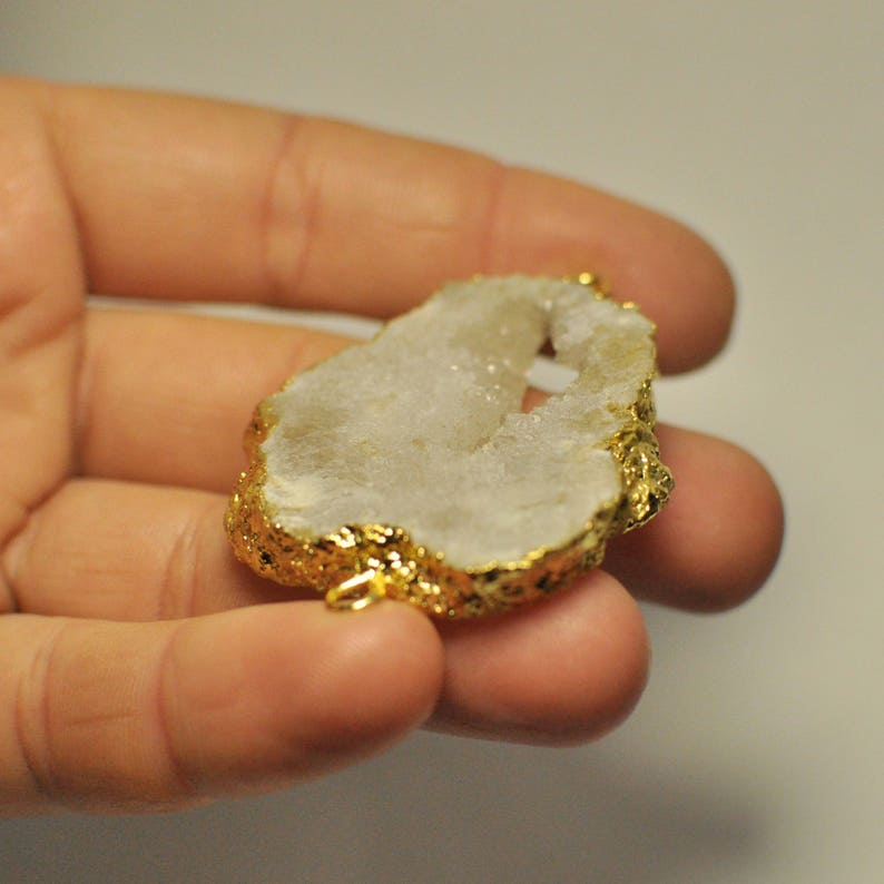 89.75 Cts. Natural White Titanium Electroplating Druzy Geode Agate 45x40x6 mm Connector gems bar Gold Plated
