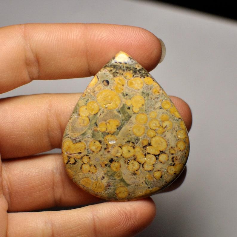 Beautiful Leopard Skin Jasper Cabochon Gemstone Orange Grey Color Pear Shape Big Cab Pendant Size 84.55 Cts 50x43x6 mm