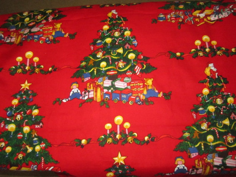 Alexander Henry Christmas Tree Red Background BTHY Out of Print Hard to Find Christmas Trees Children Toys Presents Super Cute!