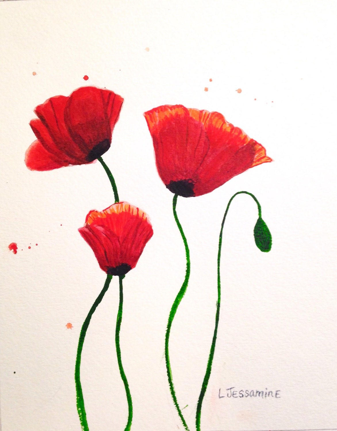 Red Poppy Original Watercolor Painting Flower Painting Red Flowers