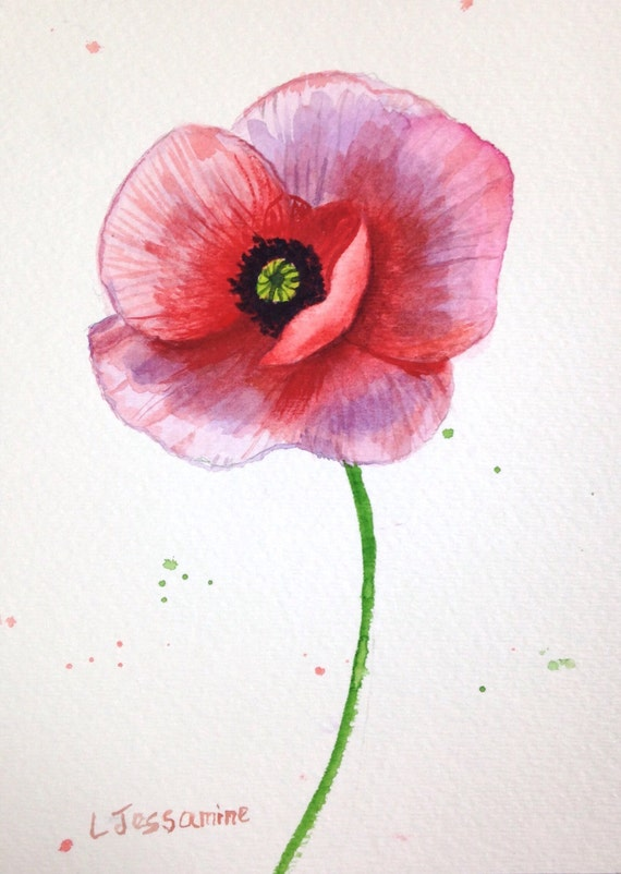 Red poppy flower painting original watercolor painting red etsy image 0 mightylinksfo