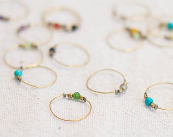 Stones Ring, Thin One, Special Price, Handmade, Semiprecious Stones, Brass, Silver, Gold plated, Laura Maresc