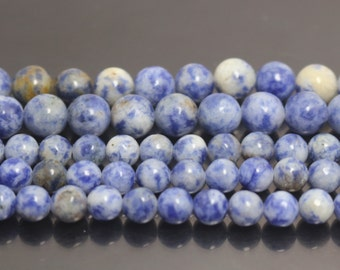 Blue Spot Beads, Natural and Smooth Round Beads,4mm 6mm 8mm 10mm 12mm Blue Spot Beads,15 inches 1 strand