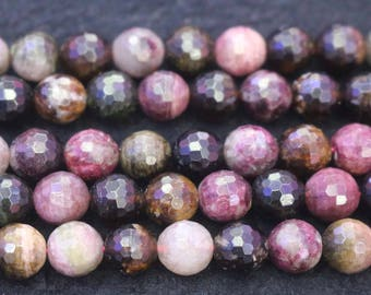 128 Faceted Multicolor Tourmaline Beads,Natural Faceted Tourmaline Round Beads,15 inches per strand