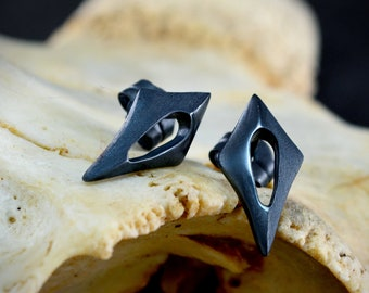 Two rhombus silver earrings