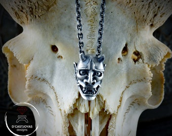 Japan demon pendant in Sterling silver and oxidised textures, Hannia, Japanese Oni Mask pendant,
