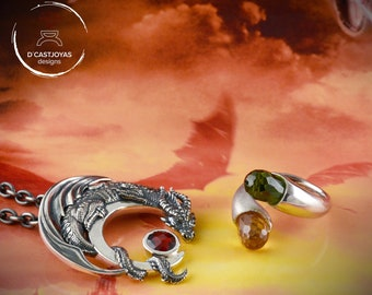 Dragon pendant and dragon eggs ring set, Inspired by Game of Thrones