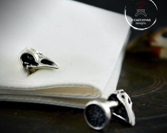 Silver raven skull cufflinks with oxidized textures, Ravens of Odin