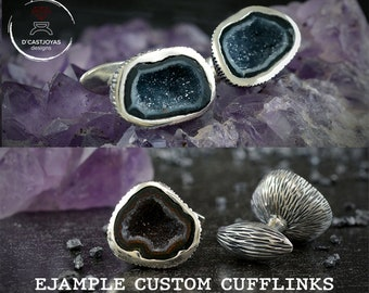 Unique custom Silver cufflinks with stone Tabasco Baby Geode