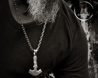 Mjolnir solid silver viking pendant for men, Hammer Thor with oxidised textures, Viking amulet