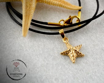 18k gold  tiny starfish pendant, Gold starfish charm, Ocean jewelry