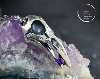 Sterling Silver Raven skull raven pendant with amethyst, Totem raven pendant, Necklace raven with garnet, Cool Valentines gift