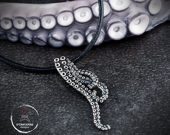Sterling silver tentacles octopus necklace