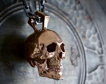 Large skull pendant handmade in bronze, Anatomical full skull, Memento mori