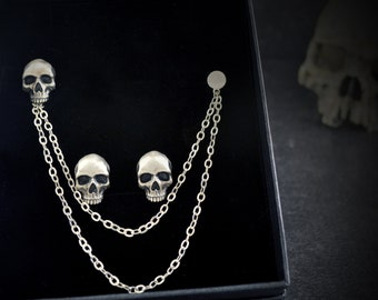 Cufflinks and silver skull pin set with chain, Personalized set for men wedding