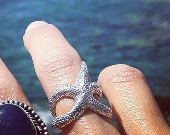 Silver Starfish ring,  Adjustable Starfish Envelope Ring, Silver Boho ring Sea Jewelry Handcrafted ring Ocean Jewelry