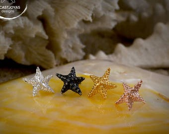 Silver tiny starfish earrings, Handcrafted starfish, Small starfish silver earring, Small star, Sea jewelry, Handmade earring, Boho style