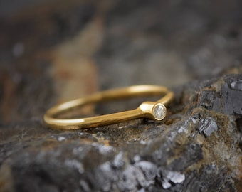 14k gold wedding ring with diamond set, 18k Gold engagement ring