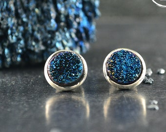 Silver cufflinks with blue druzy, Groomsman gift, Wedding cufflinks, Contemporary jewelry  for men, Handcrafted cufflinks,Father's Day Gift