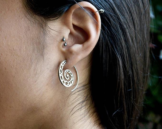 Sterling silver Spiral hoop earrings, Large Spiral shape hoops, Coral bone earrings, Handcrafted earrings, Boho style, Unisex jewelry,