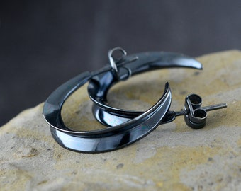 Silver hoop earrings half Moon