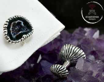 Exclusive Silver cufflinks with stone Tabasco Baby Geode, Groomsman gift, Contemporary jewelry, Original gift for men and women