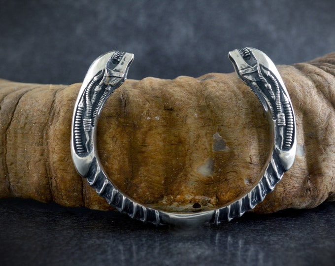 Featured listing image: Xenomorph bangle handmade in solid Sterling silver, Alien jewelry
