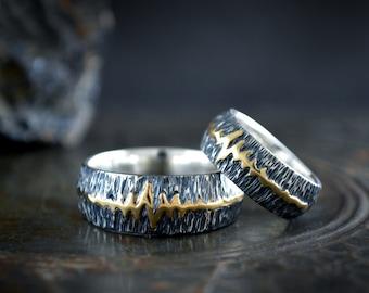 Rustic wedding band heartbeat ring set, Matching couple rings