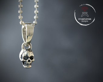 Silver tiny skull charm with natural stones