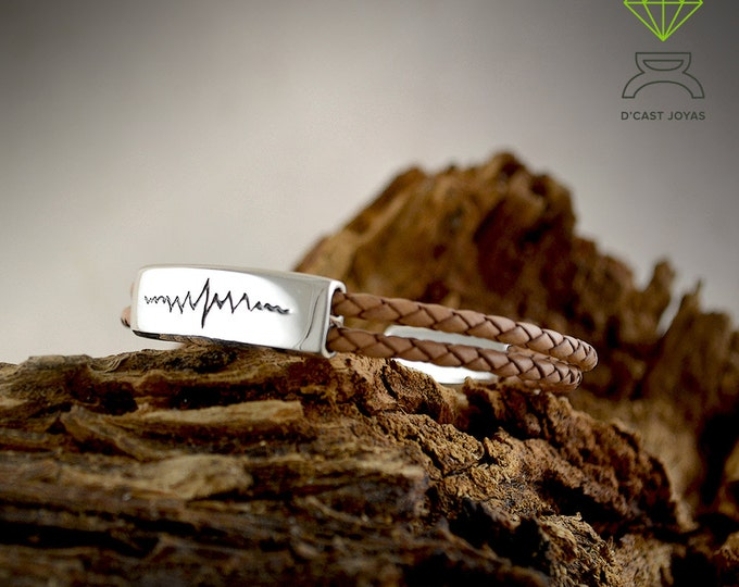 Father's Day gift, Silver Heart Beat Bracelet, Sterling silver and leather Bracelet, Mens Jewelry, Handmade bracelet
