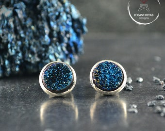 Silver cufflinks with blue druzy,, Wedding cufflinks, Valentines Gifts for Husband, Contemporary jewelry  for men, Handcrafted cufflinks