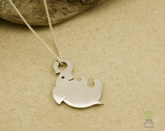 Sterling silver lucky elephant pendant, Gold plated elephant necklace, Pink elephant, Happy Elephant pendant, Cool Christmas gift, Hand Made
