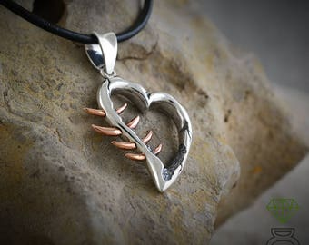 Silver Thorne heart pendant and bronze thorns, Valentine gift