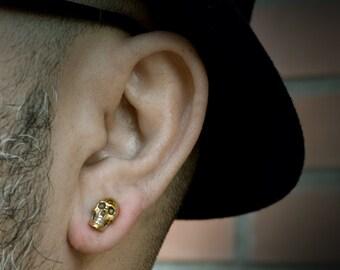 Solid gold skull earring for men and woman, Memento mori earrings