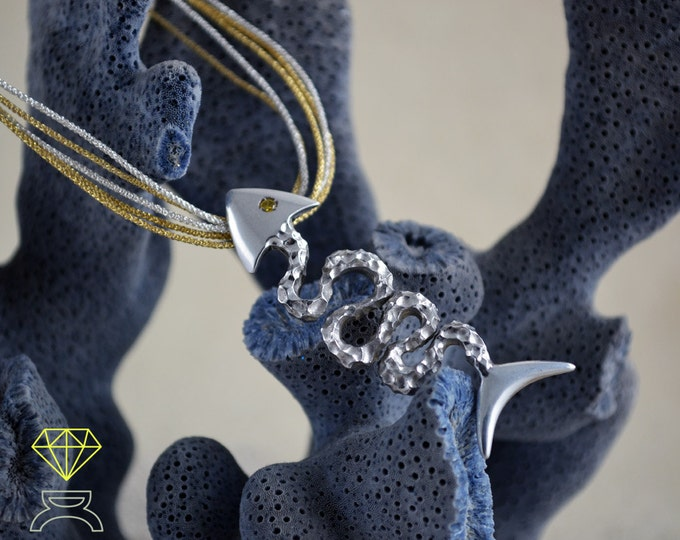 Silver Fish pendant, Fish skeleton pendant, Artistic fish pendant, Silver Man pendant, Sea jewelry, Handmade pendant, Ocean jewelry