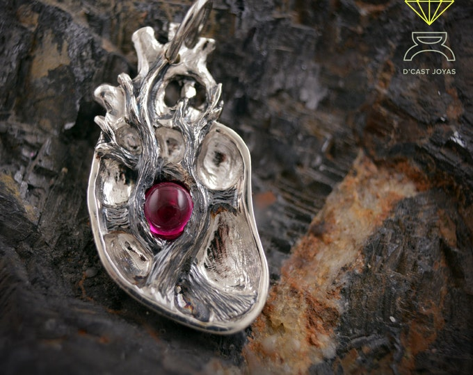 Sterling Anatomical Heart Pendant, Silver heart pendant, Human Heart, Necklace with stone, Halloween, Gothic jewelry