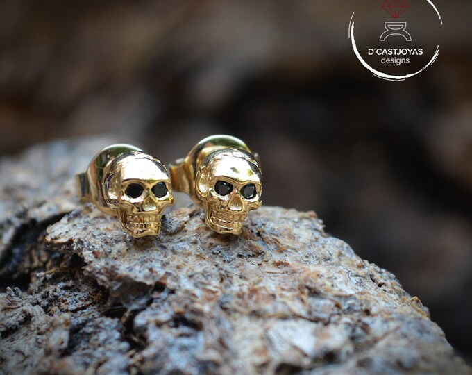 Featured listing image: Gold Tiny Skulls Earrings, Solid 18k gold earrings with black diamonds, Cool Valentine's gift, Memento Mori, Men Jewelry, Gothic jewelry