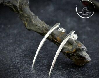 Sterling silver statement long drop stud earrings, Snake fangs earrings,  Minimalist jewelry, Contemporary jewelry, Punk style
